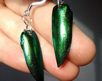 Green Elytra Earrings