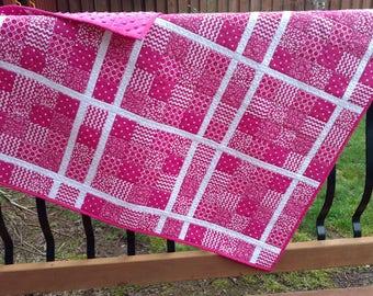 Hot Pink Modern Baby / Toddler Quilt