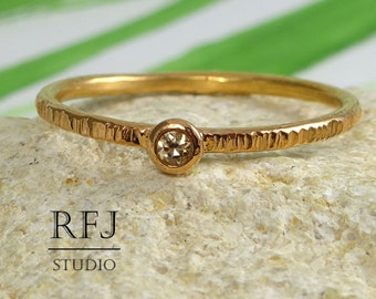 Rose Gold Textured Lab Cognac Diamond Ring, 14K Gold Plated 2 mm Cognac Cubic Zirconia Stacking Thin Ring Gold Diamond Ring Rose Golden Ring