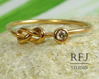 Rose Gold  Infinity Knot Ring with Lab Cognac Diamond, Double Knot 14K Gold Plated Ring, 2 mm CZ Friendship Ring, Love Rose Gold Ring