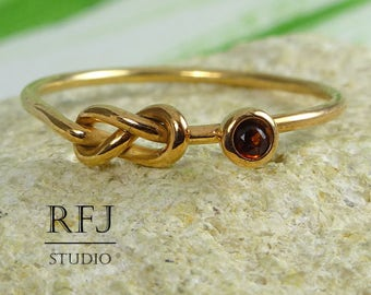 Natural Garnet 14K Gold  Infinity Knot Ring, January Birthstone Rose Gold Plated Ring, 2mm Round Cut Red Garnet Double Knot Promise Ring