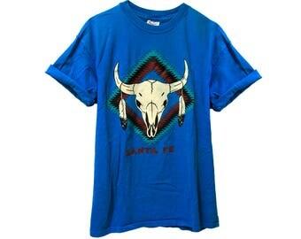 "VINTAGE ©1989 ""Santa Fe"" Graphic T-shirt - Hanes Beefy Tee"
