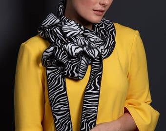 Zana - Black and White Zebra Print Ladies Scarf, Unusual, Rew Scarf