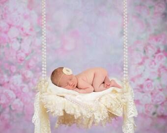 Set of two Newborn Digital Backdrops, digital prop a swing for baby girl, digital backdrop
