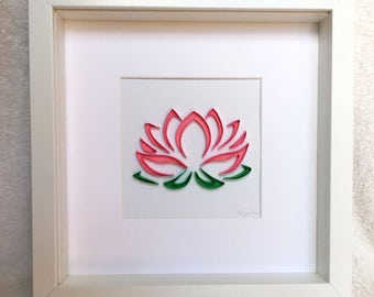 Pink Lotus Flower - Framed Wall Art - Paper Quilling