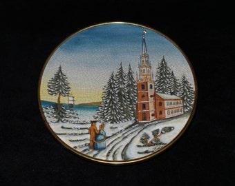 "1976 Veneto Flair Christmas Card ""Christmas 1976"" Hand Etched Christmas Plate by V. Tiziano"