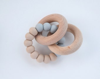 Colourblock Baby Teether Rattle // Wooden Teether // Silicone Teether // Silicone beads // Teether Toy // Teething Ring // Teething Jewelry