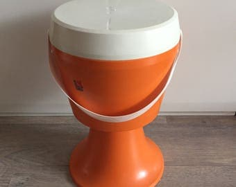 Flair naaibox vintage poef retro oranje naaipoef space age pouf for all your sewing items