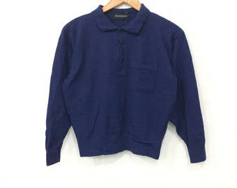 Rare! Vintage 90's Yves Saint Laurent Half Button Sweatshirt Dark Blue Color