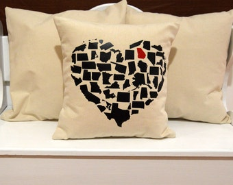 State Heart Pillow, United States Pillow, home pillow, pillow gift, state home gift, state pillow, choose your state pillow, 20x20 16x16