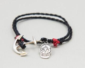 """Bracelet Double Tour Leather """"Rock Ethnic"""" Men"""