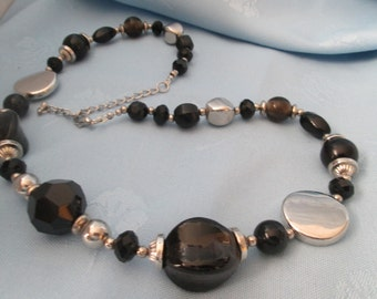"""Handmade Necklace - Used Vintage Beads - Black glass & crystal beads - Silver Disc/beads - Length 25"""" - Lobster clasp- Adjustable"""