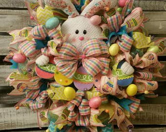 SALE!!!* Plush Bunny with Bunny Feet, Ears, Carrying Easter Eggs Mesh Wreath