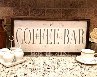 Coffee Bar Wood Sign Rustic Farm Chic Vintage Fixer Upper