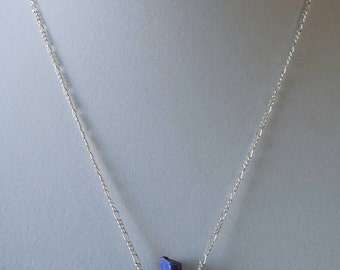 Blue Iridescent Natural Stone Necklace