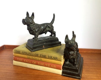 Pompeian Bronze Scottie Dog Bookends, Art Deco