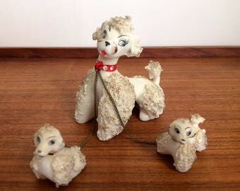 Lipper Mann Spaghetti Poodle with Two Puppies, Vintage