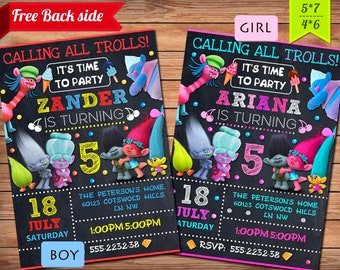 Trolls invitation, Trolls Birthday Invitation, Trolls Party, Trolls Digital Invitation, Girl Trolls Invitation, Boy Trolls Invitation