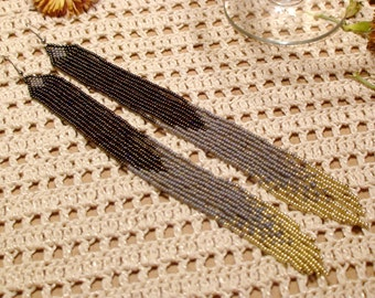Beaded earrings , Beaded Fringe Earrings , Fringe Earrings , Long Beaded Earrings , dangle earring ,fringe earrings , seed bead earring