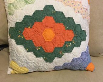 Antique quilt throw pillow, hand stitched quilt, throw pillow, quilted pillow, vintage quilt, antique quilt, hand stitched quilt, pillow
