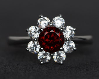 red garnet ring silver natural garnet engagement ring round cut halo ring