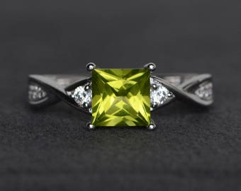 natural peridot ring princess cut ring sterling silver ring green ring gemstone ring August birthstone promise ring