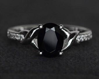 oval black spinel ring black rings sterling silver black gemstone ring