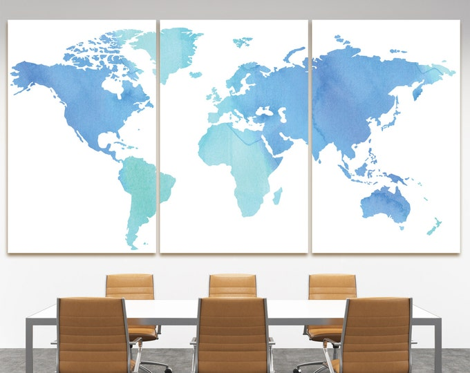 Buy blue watercolor map of the world canvas print, huge blue watercolor world map canvas, watercolor blue canvas map, aqua world map canvas