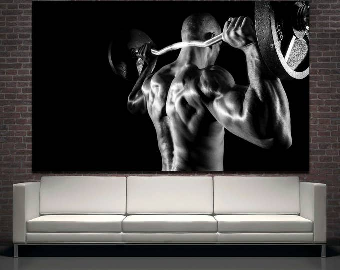 Large black and white gym wall art motivation photography canvas print set of 3 or 5 panels, modern fitness studio wall decor motivation art