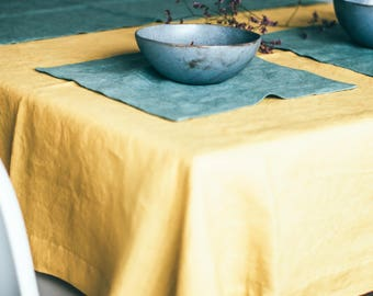 Yellow table cloth - Linen table cloth - Dinning tablecloth - Linen table décor - Rustic tablecloth - Linen tablecloth - Wedding table decor