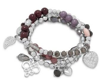 Set of 4 Silver Tone Fashion Multicharm Stretch Bracelets