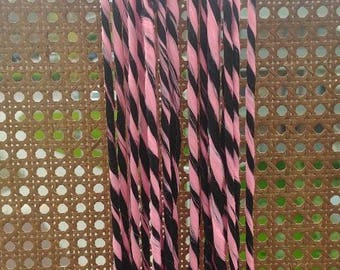 10 Beautiful handmade double ended twisted dreads in black and baby pink | Cyber hair | Boho dreads | Synthetic dread locks | Festival hair