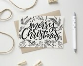 Merry Christmas,Christmas card,Holiday card, hand lettered,Printable,Instant download,Christmas Cards,Holiday greetings,ink