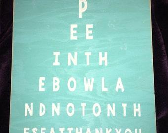 Bathroom eye test - bathroom decor - bathroom sign - rustic bathroom decor