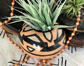 Large NAVAJO Inspired POTTERY VASE  / Native Style American Planter /  SouthWestern Flower pot / Bohemian Artisan Planter