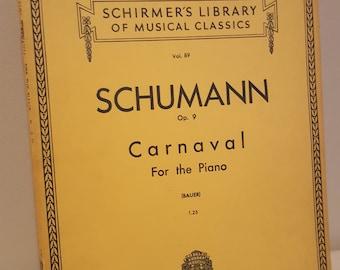 ON SALE, Vintage Sheet Music, Schumann Music, Music for piano, Schumann Carnaval, Opus 9, Classical Music, Note music, Piano Music, Music