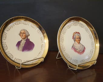 ON SALE, George Washington, Gold Plate, Martha Washington, Collectible Plates, Crest O Gold, Sabin Pottery, 22K Gold Plates, Colonial Plates
