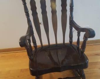 ON SALE, Nichols and Stone, Dark Wood Rocking Chair, Mahogany Rocking Chair, Antique Rocking Chair, Wood Rocking Chair, Vintage Chair,