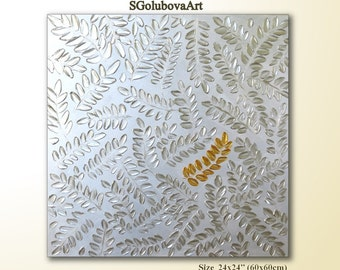 Silver leaves painting Original Abstract painting 3D Art Nature painting Modern art Beautiful Wall decor Contemporary art texture painting