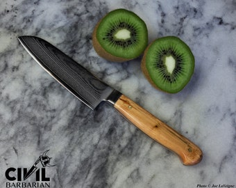 Small santoku knife with spalted alder handle