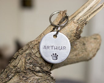 Arthur-  Pet Id Tag -Personalised - Hand stamped Aluminium Pet Tag -  Dog Tag - Cat Tag - Custom Pet Tag