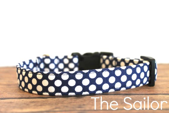 "Nautical Dog Collar, Modern Dog Collar, Chic Dog Collar, Girl Dog Collar, Trendy Dog Collar, Female Dog, Buckle Dog Collar ""The Sailor"""