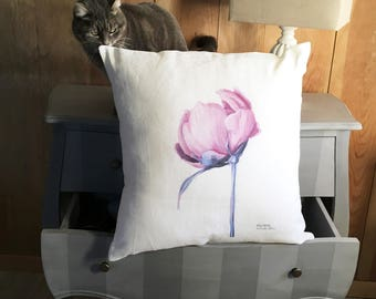 Cushion white linen button of Peony pink