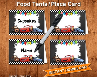 Disney Cars Food Tents, Disney Cars Place Cards, INSTANT DOWNLOAD, Digital File