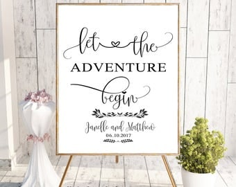 Wedding Sign, Wedding Sign Printable,Welcome to Our Wedding Sign,Wedding Printable,Digital Welcome Printable, Let the Adventure Begin
