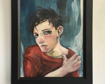 Someone Else's Dream World Oil Painting By Cristina Brito Framed Black Boy Red Blue Big Eye