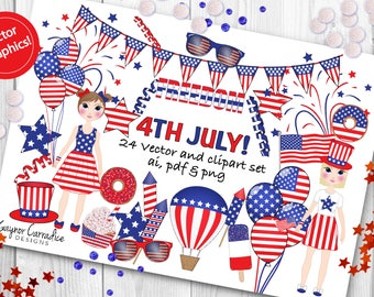 4th July clipart set, independence day clipart, 4th July vectors, Independence day vectors, Patriotic clipart, Patriotic vectors, America
