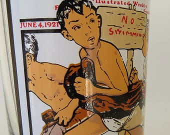 Vintage Arby's 'Summer Scenes' Collection Drinking Glass with Norman Rockwell's 'No Swimming' Illustration for The Saturday Evening Post