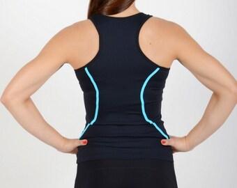 Women gym t-shirt - Sport black t-shirt - Women jogging t-shirt - Girls workout t-shirt - Yoga top wear - Gymnastics clothes - SPM02-6