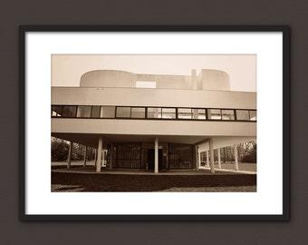 VILLA SAVOYE Fine Art Photography Print || Modernist Architecture Villa Savoye by Le Corbusier || Paris, France || Sepia Toned Image